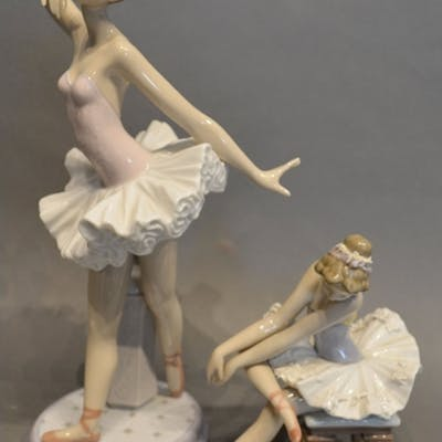 A Lladro Porcelain Model of a Ballerina, together with anoth...