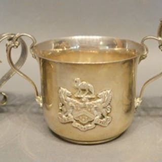 A London Silver Christening Mug, together with two other sim...