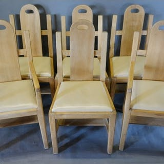 A Set of Six Arts and Crafts Dining Chairs, each with a shap...