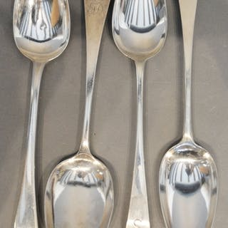 A Pair of Early Georgian Silver Tablespoons, together with t...