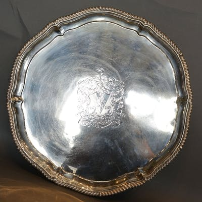 A Victorian Silver Large Salver by Richard Garrard of shaped...