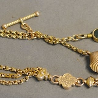 A 9 Carat Gold Watch Chain with stone mounted key, 15 gramme...