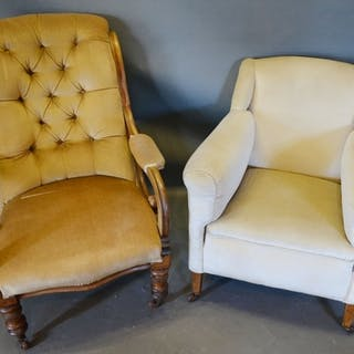 A Victorian Button Upholstered Drawing Room Armchair, togeth...