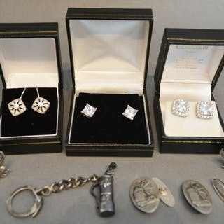 Three Pairs of Paste Set Earrings, together with a keyring i...