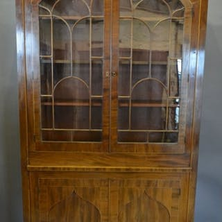 A 19th Century Mahogany Library Bookcase With Two Arched Ast...