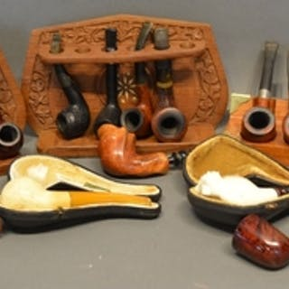 Two Meerschaum Pipes within cases, together with a large col...
