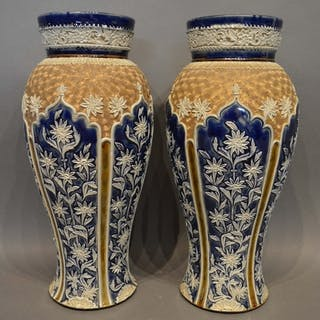 A pair of Doulton Lambeth Stoneware Oviform Vases decorated ...