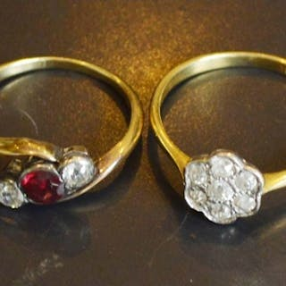 An 18 Carat Gold Diamond Cluster Ring, together with a three...