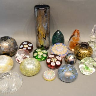 Various Millefiori Glass Paperweights, together with other g...