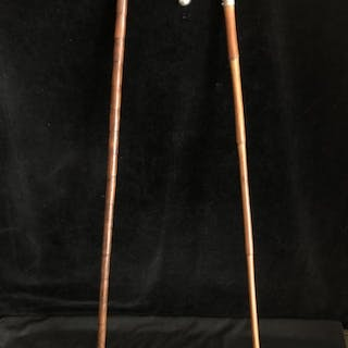Two silver topped walking canes - one with arched handle the...
