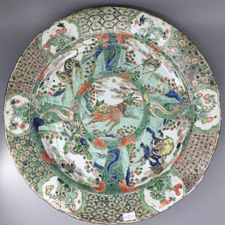 A chinese decorative famille verte charger depicting central...