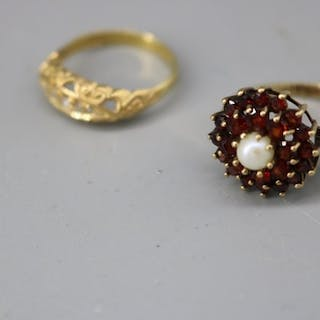a 9ct gold garnet and pearl dress ring together with 18ct go...