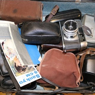 Assorted cameras to include OM10, brownie, canon etc