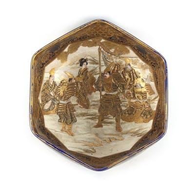 A Japanese Satsuma hexagonal bowl, Meiji period (1868-1912),...