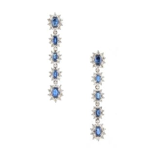 A very attractive pair of sapphire & diamond pendant five se...