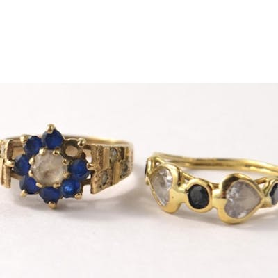 375 stamped gold ladies dress ring with clear and blue stone...