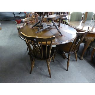 Priory Dark Oak Circular Extending Dining Table On Trestle B Cur S Barnebys