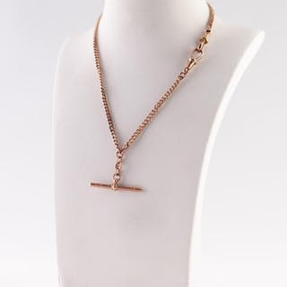 9ct ROSE GOLD CURB LINK ALBERT CHAIN, with T-bar and two cli...