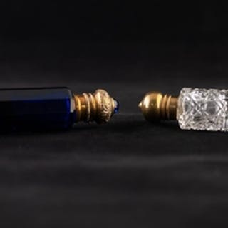 A VICTORIAN FACETED SAPPHIRE BLUE GLASS GILT METAL MOUNTED D...