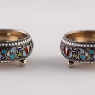A PAIR OF SMALL IMPERIAL RUSSIAN SILVER (.84 zolotniks) AND ...
