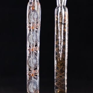 TWO 19TH CENTURY LONG SQUARE-SECTION SCENT BOTTLES, one enam...