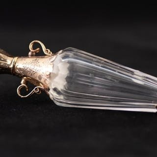 A LATE 19TH CENTURY FRENCH FACETED CLEAR GLASS AND GOLD COLO...