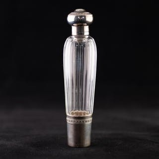 A LATE 19TH CENTURY FRENCH FACETED CLEAR GLASS WHITE METAL M...