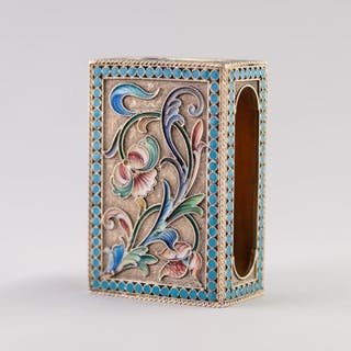AN IMPERIAL RUSSIAN SILVER (.84 zolotniks) GILT AND CLOISONN...