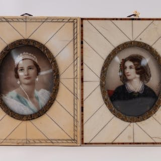 TWO LATE 19TH CENTURY FRENCH PIANO-KEY FRAMED PASTICHE PORTR...