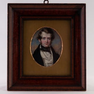 T. WHEELER, A GOOD OVAL PORTRAIT MINIATURE ON IVORY OF A YOU...