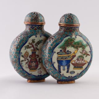 A PAIR OF CHINESE LATE QING/REPUBLIC PERIOD CLOISONNE DOUBLE...