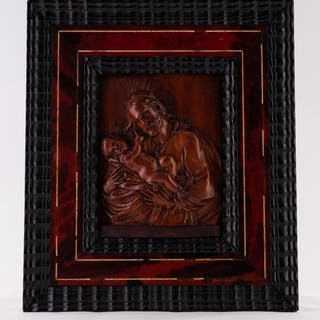 AN 18TH CENTURY FLEMISH CARVED FRUITWOOD RELIEF OF JOSEPH CR...