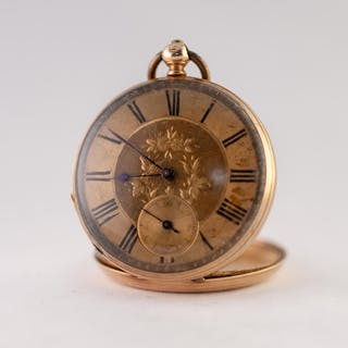 EARLY 20TH CENTURY 14ct GOLD OPEN FACED KEYWIND POCKET WATCH...