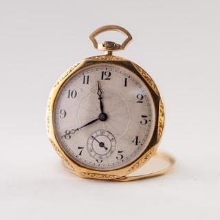 GENTLEMAN'S 18ct TWO COLOUR GOLD OPEN FACED POCKET WATCH, wi...