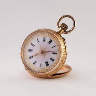 LADY'S 18ct GOLD OPEN FACED POCKET WATCH, with keyless movem...