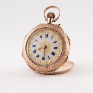 EDWARDIAN 9ct GOLD FOB WATCH with keyless movement, roman wh...