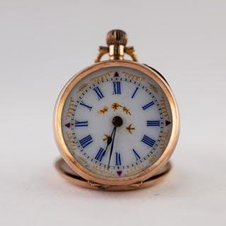 LADY'S EARLY 20th CENTURY 14K GOLD POCKET WATCH with keyless...
