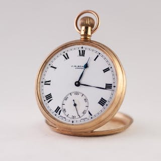 J.W. BENSON, LONDON 9ct GOLD OPEN FACED POCKET WATCH with Sw...