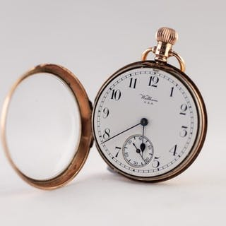 WALTHAM USA, 9ct GOLD OPEN FACED POCKET WATCH, with keyless ...