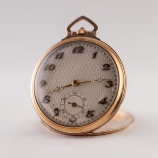 GENTLEMAN'S 9ct GOLD OPEN FACED POCKET WATCH, with keyless 1...
