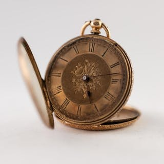 18k GOLD OPEN FACED POCKET WATCH with key wind movement, flo...