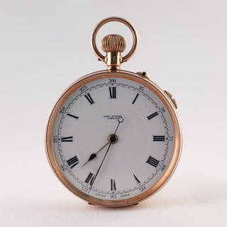 JOHN RUSSEL, LONDON, 9ct GOLD OPEN FACED POCKET WATCH with k...