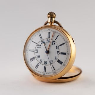 LATE VICTORIAN 18CT GOLD OPEN FACED POCKET WATCH with keyles...
