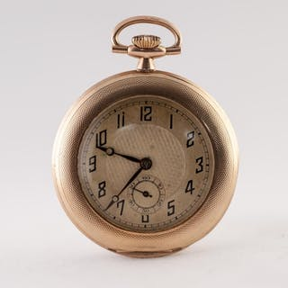 9ct GOLD SLIM OPEN FACED DRESS POCKET WATCH, discus shaped w...