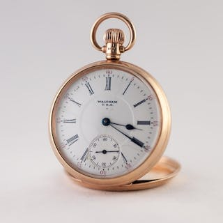 WALTHAM, USA, 9ct GOLD OPEN FACED POCKET WATCH, with keyless...