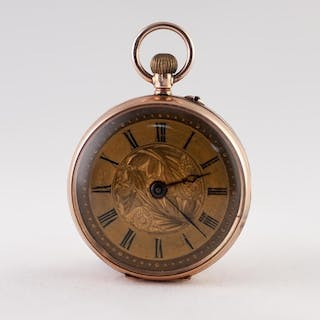H. SAMUELS EDWARDIAN OPEN FACED FOB WATCH, with Swiss keyles...