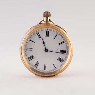 18k GOLD LADY'S OPEN FACED POCKET WATCH with keyless movemen...