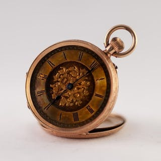 14k GOLD LADY'S POCKET WATCH with keyless movement, gold rom...