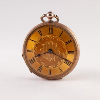 LADY'S CONTINENTAL LATE 19th CENTURY GOLD OPEN FACED POCKET ...
