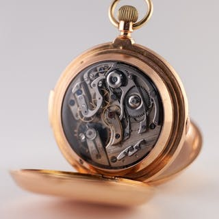 18k GOLD FULL HUNTER POCKET WATCH with quarter repeater keyl...